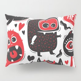 Funny Doodles with Monsters Set Pillow Sham