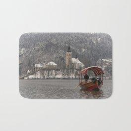 Red Pletna Boat At Lake Bled Bath Mat
