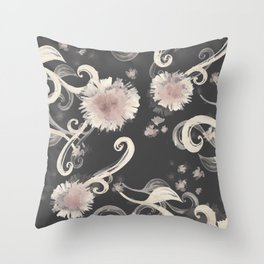 Girasol floral print light Throw Pillow