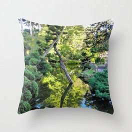 Japanese Tea Garden Lake Throw Pillow