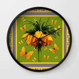 DECORATIVE GREEN & YELLOW CROWN IMPERIAL BUTTERFLIES Wall Clock