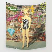 barbie Wall Tapestries featuring Street Cred Barbie by October James