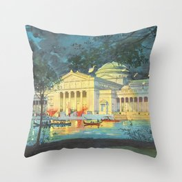 Lagoon at Night; Palace of Fine Arts in Chicago 1893 Throw Pillow