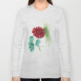 Red Christmas Gerber Daisy Long Sleeve T-shirt