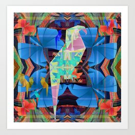 Origami Parrot Butterfly Tribal Tropical Floral Art Print