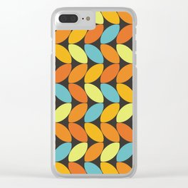Retro 70s Color Palette Leaf Pattern II Clear iPhone Case