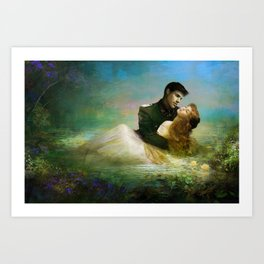 Royal couple in romantic lover's embrace Art Print