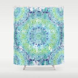 Blue Greenery Tie-Dye Mandala Shower Curtain