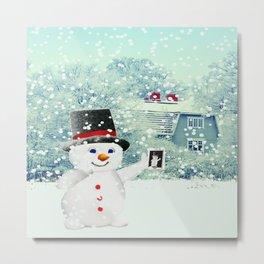 Snowman Selfie Metal Print