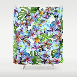 Rainbow Plumeria Pattern Shower Curtain