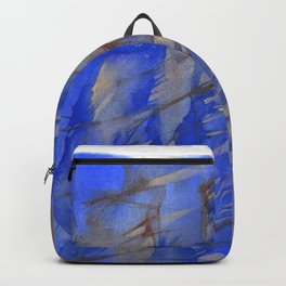 Blue & Brown Abstract Landscape - Cliff Face Backpack