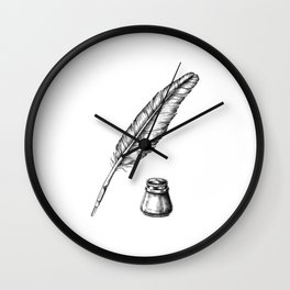 Quill Pen with an Inkwell Wall Clock
