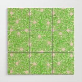 02 White Flowers on Green Wood Wall Art