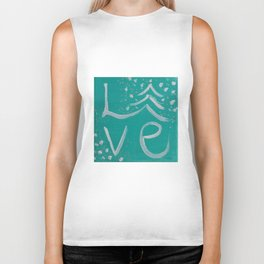 Teal,White and Silver Christms Tree Love Biker Tank