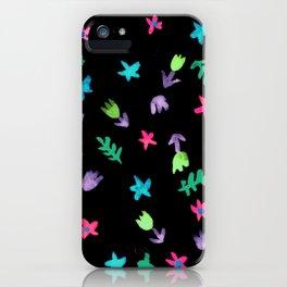 Hand Painted Calico Floral Pattern (Purple Aqua Teal Green Fuchsia Black) iPhone Case
