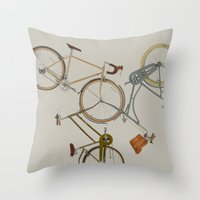 bicycles Throw Pillows featuring bicycles by Golden Boy