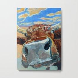 The Boy Down the Street Cow Portrait Metal Print