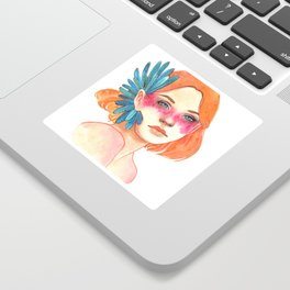 girl with redhead and flower chamomile Sticker