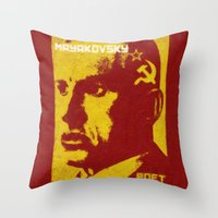 soviet Throw Pillows featuring Mayakovsky, Soviet Poet by Adam Metzner