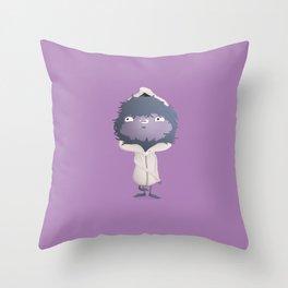 Hooded Furball Monster Throw Pillow