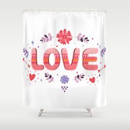 Flora Love Boho Style Shower Curtain