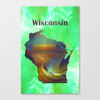 wisconsin Canvas Prints featuring Wisconsin Map by Roger Wedegis