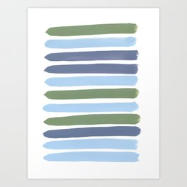 Cool Blue Green Stripes Art Print
