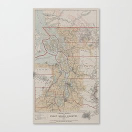 Vintage Map of The Puget Sound (1899) Canvas Print
