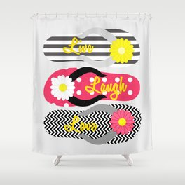 Live - Laugh - Love in Black & Red Shower Curtain
