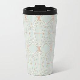 Geometry art decó in blue and orange Travel Mug