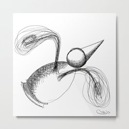 Flying Metaphysical Penguin Metal Print