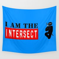 chuck Wall Tapestries featuring I AM THE  INTERSECT Chuck Ninja Man Stick S6 by Jamie Fontaine