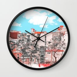 A water painting style photo of peaceful city view  Wall Clock
