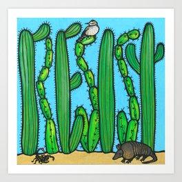RESIST - armadillo, cactus wren, scorpion on THE WALL Art Print
