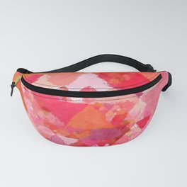 Into the heat - Pink and red watercolor Triangle pattern Fanny Pack
