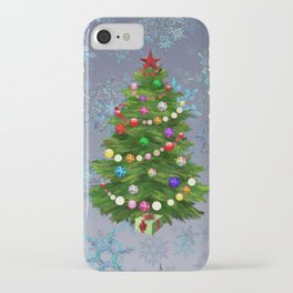 Christmas tree & snow v.2 iPhone Case