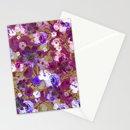 Purple and Olive Floral Stationery Cards