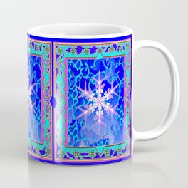 Blue Frozen Snowflake Abstract Art Coffee Mug