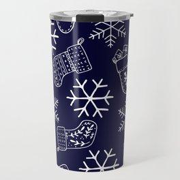 Navy blue and white Christmas snowflakes stockings  Travel Mug