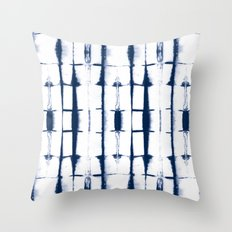 Shibori Stripes 4 Indigo Blue Throw Pillow