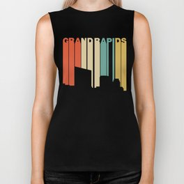 Retro 1970's Style Grand Rapids Michigan Skyline Biker Tank
