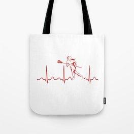 LACROSSE WOMAN HEARTBEAT Tote Bag