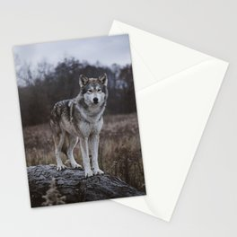 Wolf on Log Stationery Cards