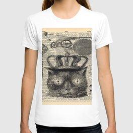 dictionary print steampunk gear halloween spooky black cat T-shirt