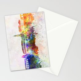 Nimes skyline in watercolor background Stationery Cards