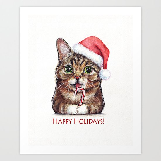 Cat in Santa Hat with Candy Cane Art Print