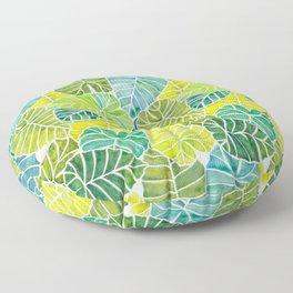 Tropical Leaves Alocasia Elephant Ear Plant Blue Green Floor Pillow
