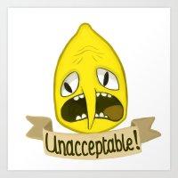 lemongrab Art Prints featuring Lemongrab Unacceptable by Kam-Fox