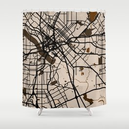 Dallas Street Map // Light Brown Theme Shower Curtain