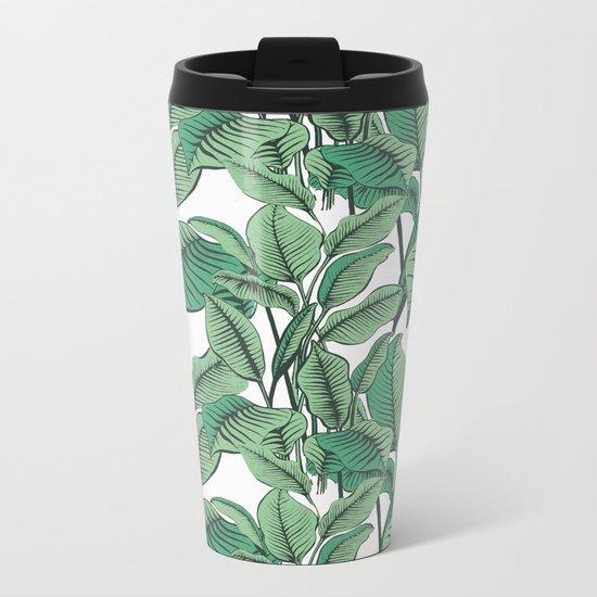 Exotic Tropical Banana Palm Leaf Print Metal Travel Mug